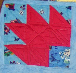 "One Bear Paw block. Set in the corner of the quilt with the other 3 ""paws"" taking up the other corners."