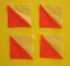 Half-Square triangles. Using a dark and light fabric give a stronger effect.